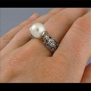 GP SILVER PEARL VTG STYLE RING 6 1/2